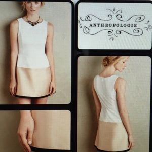 Maeve Anthropologie white & gold sleeveless dress